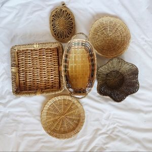 Curated fall wicker basket wall